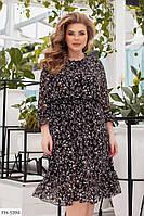 Женственное романтичное платье свободного кроя в цветочный принт под пояс р:48-50,52-54,56-58,60-62 арт. 664