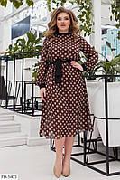 Шифоновое романтичное принтованное платье на трикотажной подкладке р:48-50,52-54,56-58,60-62 арт. 1065