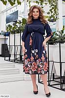 Женственное летящее легкое приталенное платье из софта с принтом под пояс р:48-50,52-54,56-58,60-62 арт. 1063