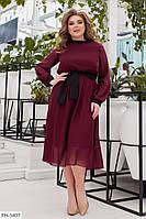 Классическое приталенное шифоновое летящее платье на подкладке под пояс р:48-50,52-54,56-58,60-62 арт. 1066