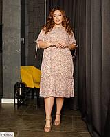 Легкое романтичное шифоновое принтованное платье свободного кроя на подкладке р: 50, 52, 54, 56 арт. 410/1
