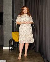 Легкое романтичное шифоновое принтованное платье свободного кроя на подкладке р: 50, 52, 54, 56 арт. 410