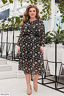 Нежное легкое шифоновое платье свободного кроя с цветочным принтом р: 48-50, 52-54, 56-58, 60-62 арт. 672