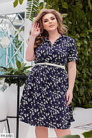 Коттоновое повседневное приталенное романтичное платье с цветочным принтом р:48-50,52-54,56-58,60-62 арт. 1062