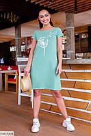 Прогулочное однотонное свободное молодежное мягкое хлопковое платье с накатом р: 48-50, 52-54 арт. 621
