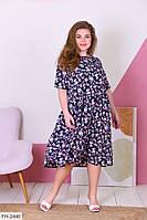 Романтичное нежное платье свободного кроя из софта с принтом Размер: 50-52, 54-56, 58-60 арт. 182