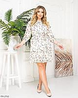 Романтичное нежное приталенное шифоновое платье на подкладке с цветочным принтом р: 50, 52, 54, 56 арт. 452