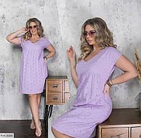 Повседневное однотонное платье свободного кроя из прошвы на подкладке р: 48-50, 50-52, 54-56 арт. 6055