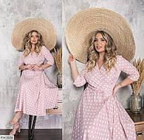 Софтовое романтичное платье на запах в крупный горох длины миди Размер: 50-52, 54-56, 58-60 арт. 6051