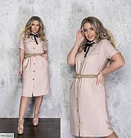 Крутое повседневное комфортное льняное платье-рубашка с карманами Размер: 50-52, 54-56, 58-60 арт. 2257