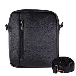 """Мужская сумка из натуральной кожи от ТМ""""ArtMar"""", цвет черный, 19-22.5-5 см"""