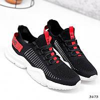 Кросівки чоловічі Nicola чорні + червоний 3673