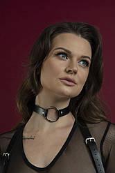 Чокер з кільцем Feral Feelings - O-Ring Collar чорний, натуральна шкіра