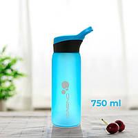 Пляшка для води CASNO 750 мл KXN-1210 Блакитна з соломинкою