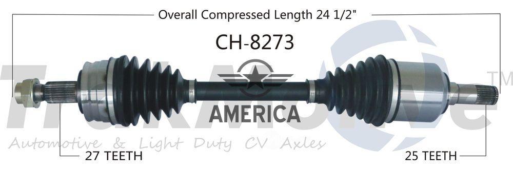 Піввісь передня ліва 2.0 L, 2.4 L Manual trans SURTRACK CH8273 Dodge Dart
