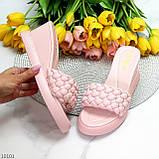 Удобные нарядные фактурные розовые пудра женские шлепки шлепанцы на танкетке 39-25см, фото 10