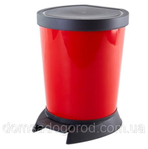 """Відро з педаллю пластик 18 л (біле / червоне) """"Алеана"""""""
