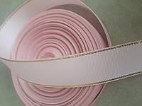 Лента репсовая 2,5см с люрексом розовая (25ярд)