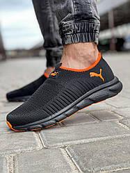 Мужские кроссовки Puma, кеды черные с оранжевым / мужские слипоны (Топ реплика ААА+)