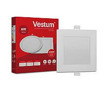 Квадратний світлодіодний світильник врізний Vestum 6W 4000K 220V 1-VS-5202