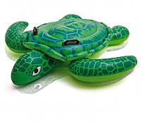 Надувной плотик с ручками Intex 57524 Пляжный плавательный для катания 150 х 127 см Черепаха