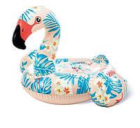 Надувной плотик с ручками Intex 57559 Пляжный плавательный для катания 178 х 135 см Фламинго