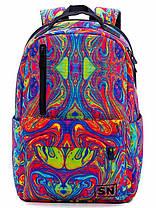 Рюкзак шкільний для дівчинки підлітка на 2 відділу молодіжний Абстрактний принт SkyName 77-01, фото 3