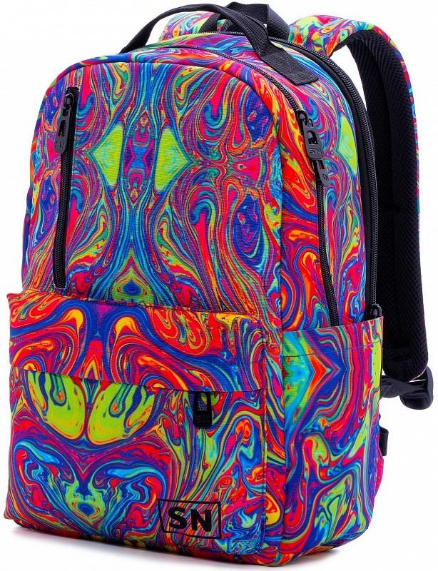 Рюкзак шкільний для дівчинки підлітка на 2 відділу молодіжний Абстрактний принт SkyName 77-01