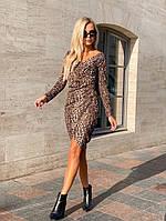Женское стильное облегающее платье с V-образным декольте, фото 1
