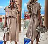 Женское платье-рубашка красивое длины Миди (Норма, Батал), фото 5