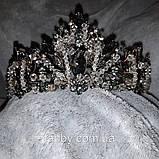 Обємна розкішна корона з чорним камінням та чеськими кришталиками (7см) (прозорі бусинки можна зняти), фото 8