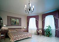 Натяжной потолок Спальня 15 м.кв. Белый глянец