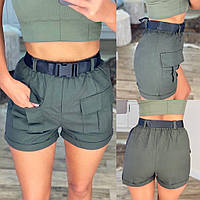 Женские стильные шорты с поясом в комплекте, фото 1