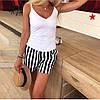 Женские стильные летние шорты в полоску с поясом в комплекте