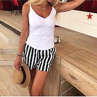 Женские стильные летние шорты в полоску с поясом в комплекте, фото 1