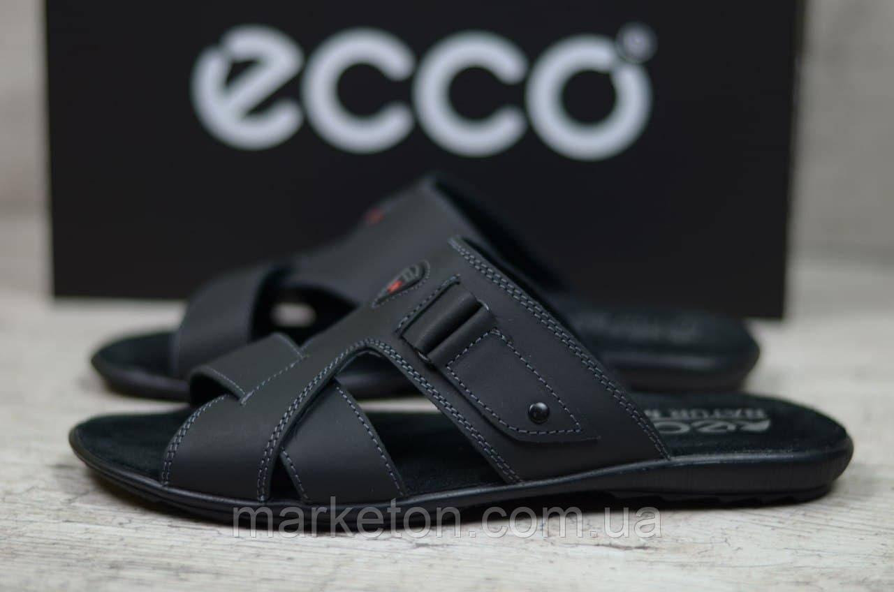 Мужские кожаные шлепки Черные Ecco