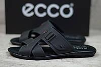 Мужские кожаные шлепки Черные Ecco, фото 1