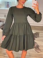 Женское стильное расклешенное платье с длинным рукавом, фото 1