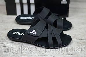 Чоловічі шкіряні шльопанці Чорні Adidas