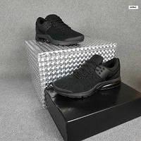 Мужские кроссовки в стиле Nike Air Presto чёрные на балоне