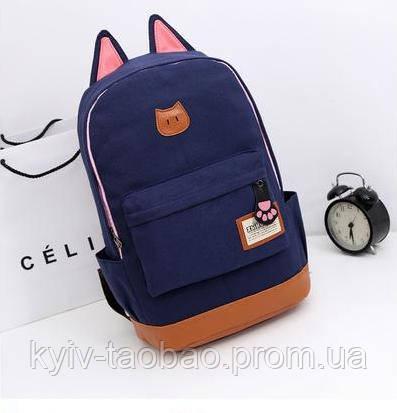 Городской кото-рюкзак с ушками и лапкой темно-синий