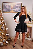 Женское платье с вставками черное, фото 1