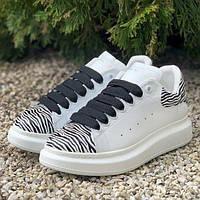Женские кроссовки Alexander McQueen White Zebra    Кеды Александр  МакКуин Белые зебра