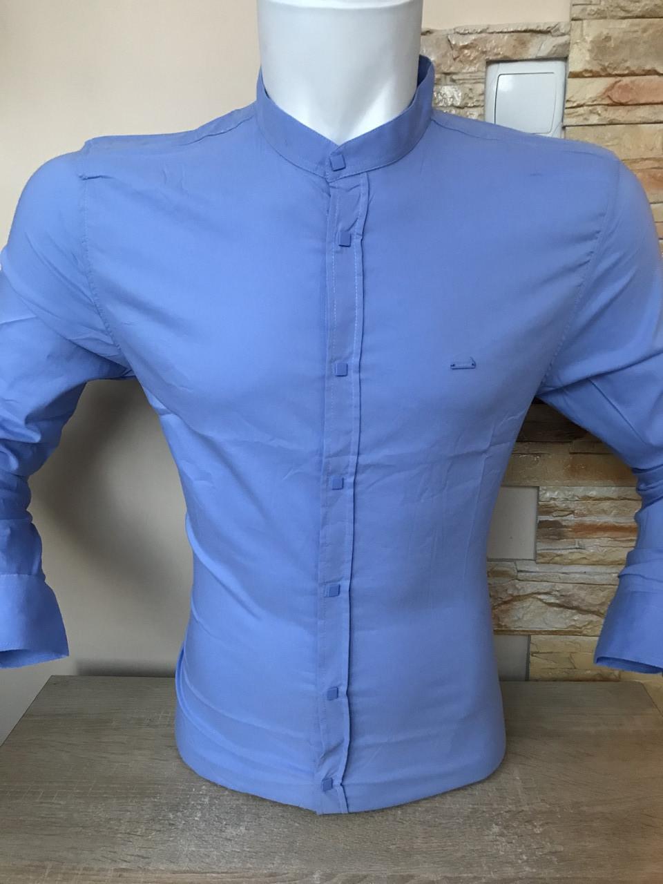 Батальна блакитна сорочка/стійка-  Black Stone