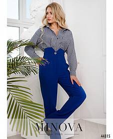 Супер стильные женские брюки с высокой посадкой и стрелками цвет электрик, размер от 42 до 48