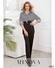 Прямые женские чёрные брюки со стрелками и высокой талией, размер от 42 до 48