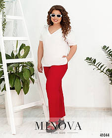 Красные прямые женские брюки из льна, больших размеров от 50 до 60