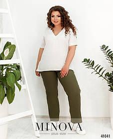 Повседневные женские брюки цвета хаки на высокой талии резинка, больших размеров от 50 до 60
