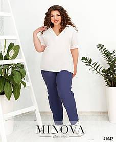 Синие удобные женские брюки с карманами натуральный лён, больших размеров от 50 до 60