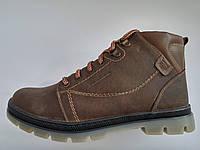Кожаные мужские коричневые оливковые удобные модные стильные зимние ботинки Mida 45